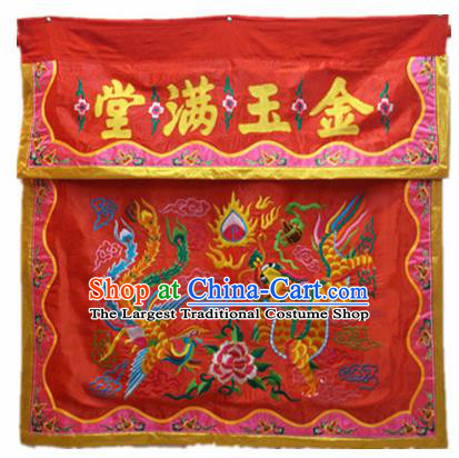 Traditional Chinese Beijing Opera Props Flag Embroidered Phoenix Dragon Altar Antependium Banner
