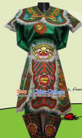 Traditional Chinese Beijing Opera General Costume Takefu Embroidered Green Clothing for Adults