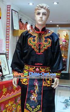 Traditional Chinese Beijing Opera Swordsman Black Costume Takefu Embroidered Clothing for Adults