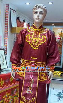 Traditional Chinese Beijing Opera Swordsman Wine Red Costume Takefu Embroidered Clothing for Adults