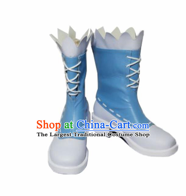 Asian Chinese Cosplay Shoes Cartoon Cowboy Blue Boots for Men