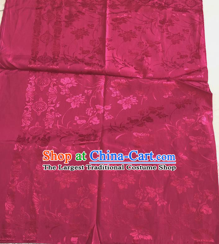 Asian Chinese Traditional Fabric Flowers Pattern Rosy Brocade Cloth