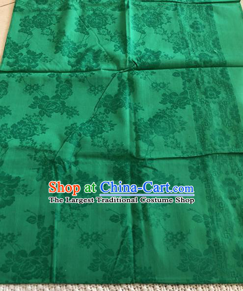 Asian Chinese Traditional Fabric Peony Pattern Deep Green Brocade Cloth Silk Fabric