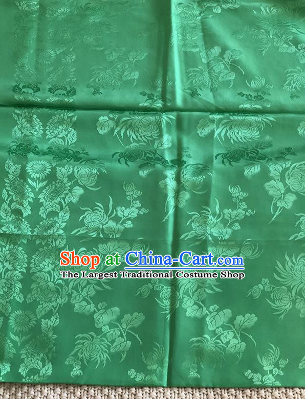 Asian Chinese Traditional Fabric Peony Chrysanthemum Pattern Green Brocade Cloth Silk Fabric