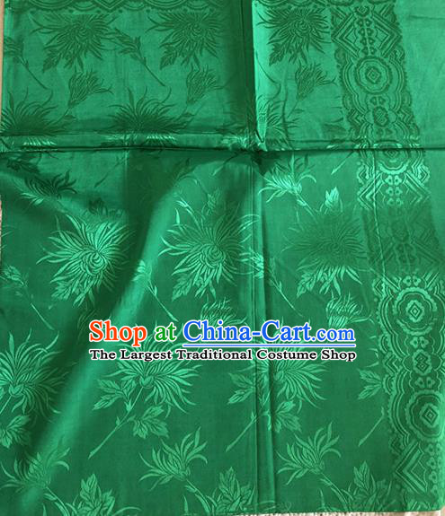 Asian Chinese Traditional Fabric Palace Chrysanthemum Pattern Green Brocade Cloth Silk Fabric