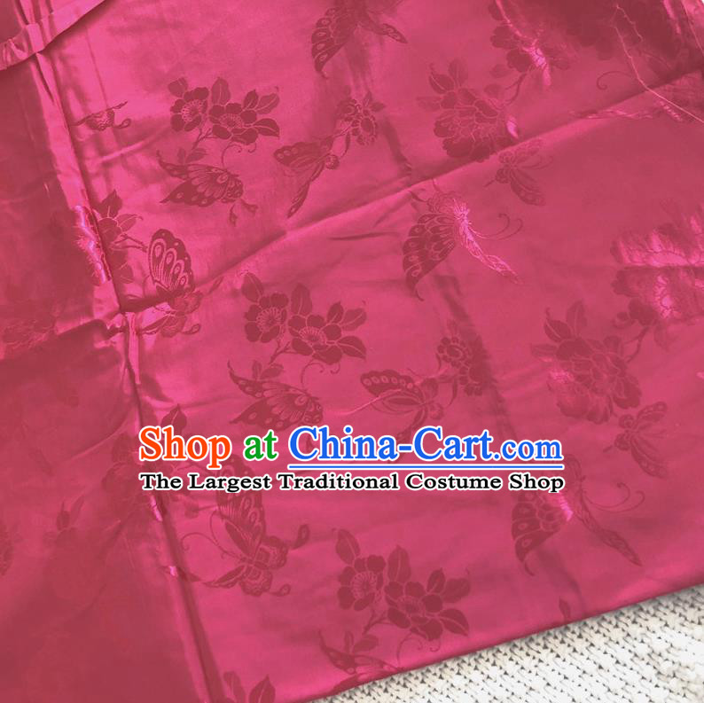 Asian Chinese Traditional Fabric Palace Butterfly Pattern Rosy Brocade Cloth Silk Fabric