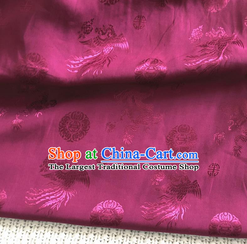 Asian Chinese Traditional Fabric Palace Phoenix Pattern Rosy Brocade Cloth Silk Fabric