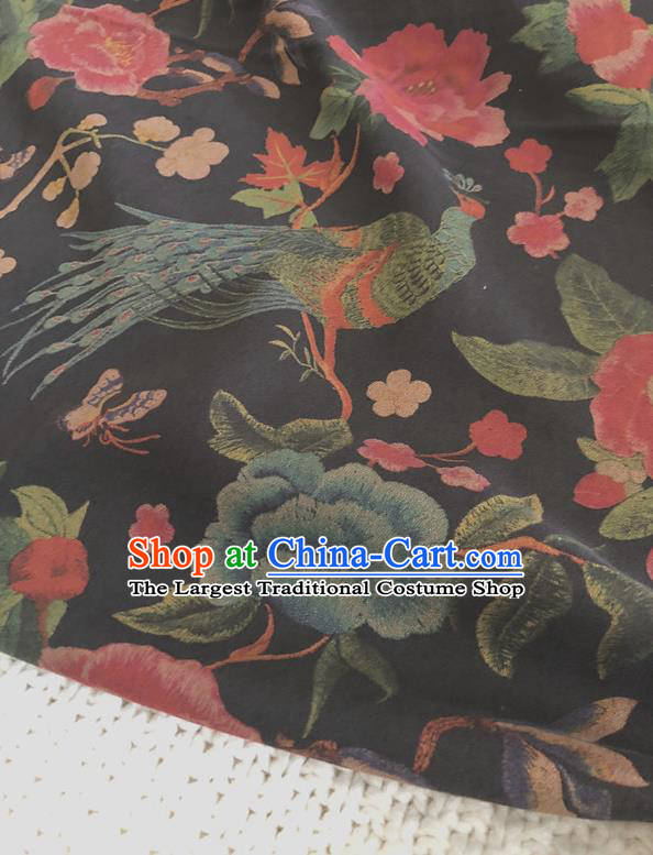 Asian Chinese Traditional Fabric Palace Peony Pattern Black Brocade Cloth Silk Fabric