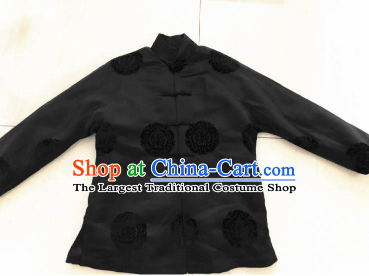 Traditional Chinese Handmade Costume Tang Suit Embroidered Black Blouse for Women