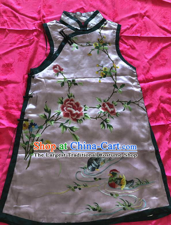 Traditional Chinese Handmade Costume Tang Suit Embroidered Mandarin Duck Pink Vest for Women