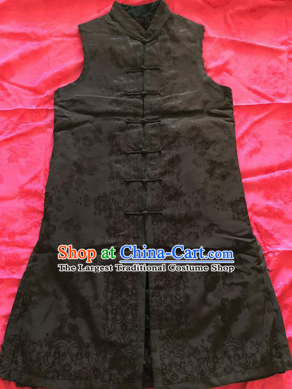 Traditional Chinese Handmade Costume Tang Suit Waistcoat Embroidered Black Brocade Long Vest for Women
