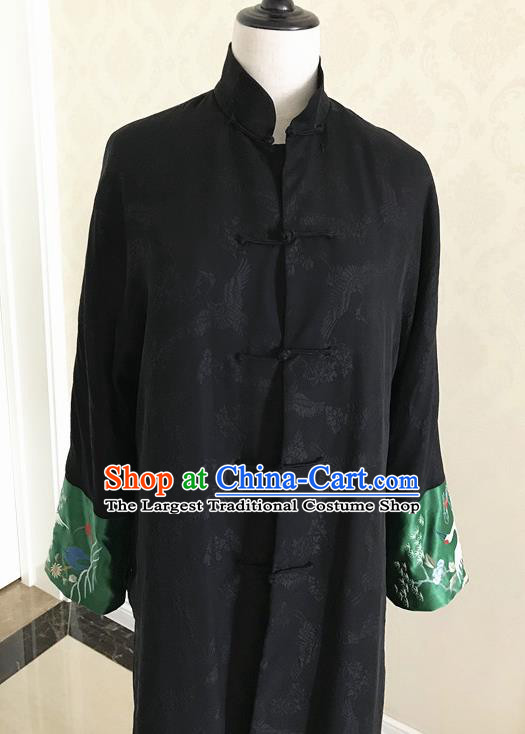 Traditional Chinese Handmade Costume Tang Suit Black Brocade Coat for Women
