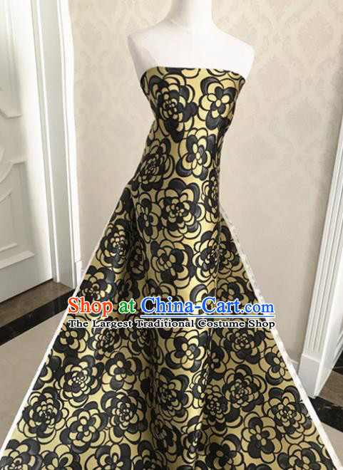 Asian Chinese Traditional Golden Silk Fabric Royal Pattern Brocade Cheongsam Cloth Silk Fabric