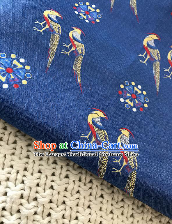 Asian Chinese Traditional Blue Silk Fabric Royal Birds Pattern Brocade Cheongsam Cloth Silk Fabric