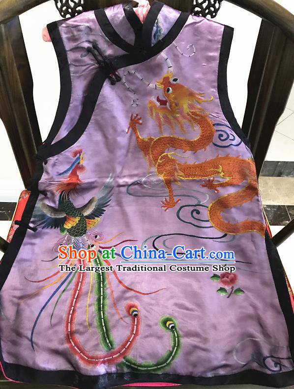 Traditional Chinese Handmade Costume Tang Suit Embroidered Dragon Phoenix Purple Vest for Women
