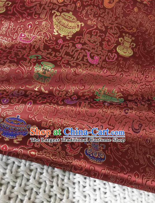 Asian Chinese Traditional Purplish Red Silk Fabric Royal Pattern Brocade Cheongsam Cloth Silk Fabric