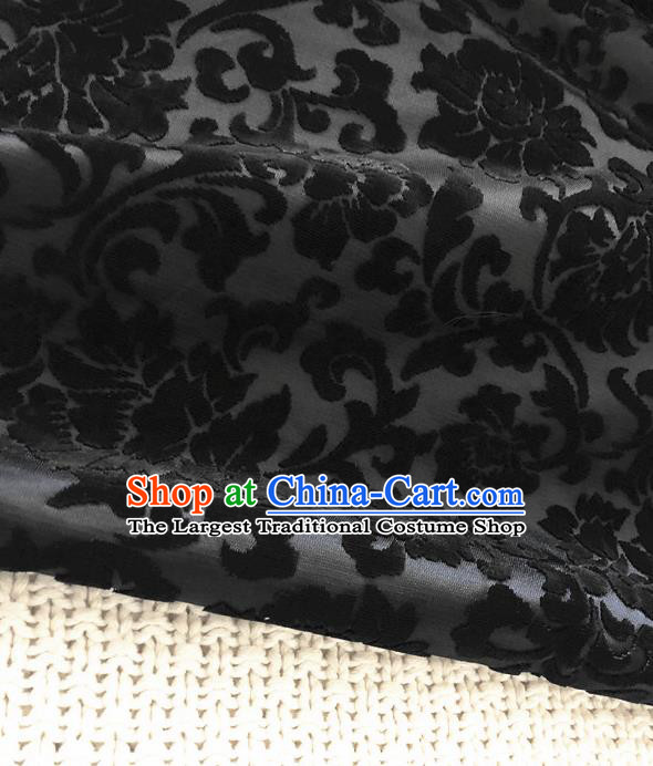 Asian Chinese Traditional Silk Fabric Classical Pattern Black Brocade Cheongsam Embroidered Cloth Silk Fabric