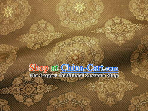 Asian Chinese Traditional Bronze Silk Fabric Royal Pattern Brocade Cheongsam Cloth Silk Fabric