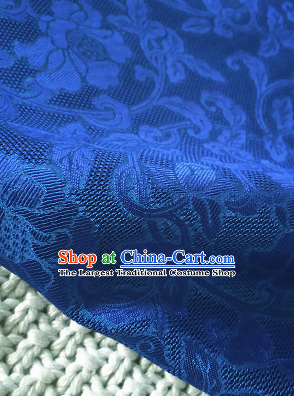 Asian Chinese Traditional Royalblue Silk Fabric Royal Pattern Brocade Cheongsam Cloth Silk Fabric