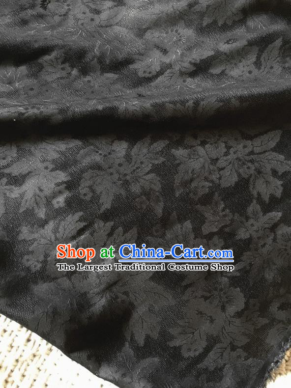 Asian Chinese Traditional Cheongsam Silk Fabric Royal Pattern Black Brocade Cloth Silk Fabric