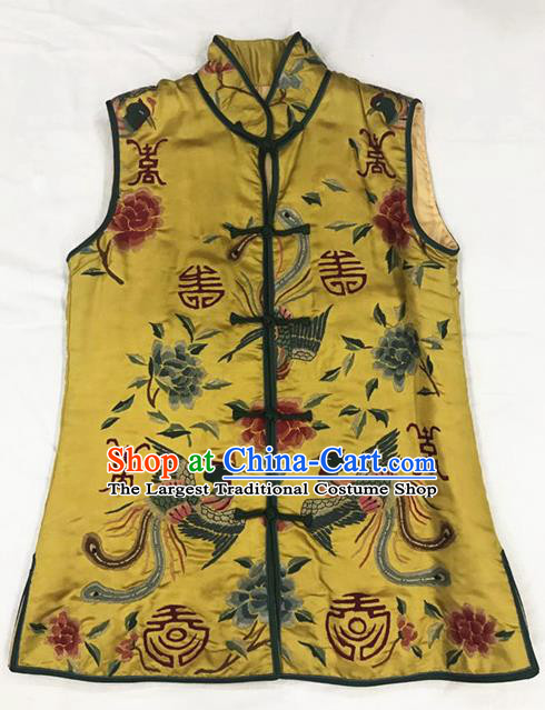 Traditional Chinese Handmade Costume Tang Suit Embroidered Phoenix Peony Yellow Vest for Women