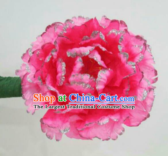 Traditional Chinese Folk Dance Accessories Opening Dance Pink Peony Flower for Women