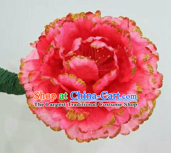 Traditional Chinese Folk Dance Accessories Opening Dance Red Peony Flower for Women