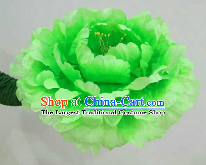 Traditional Chinese Folk Dance Accessories Opening Dance Green Peony Flower for Women