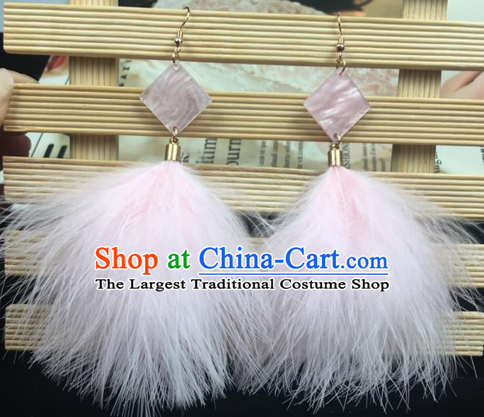 Traditional Chinese Bride Jewelry Accessories Pink Feather Earrings for Women