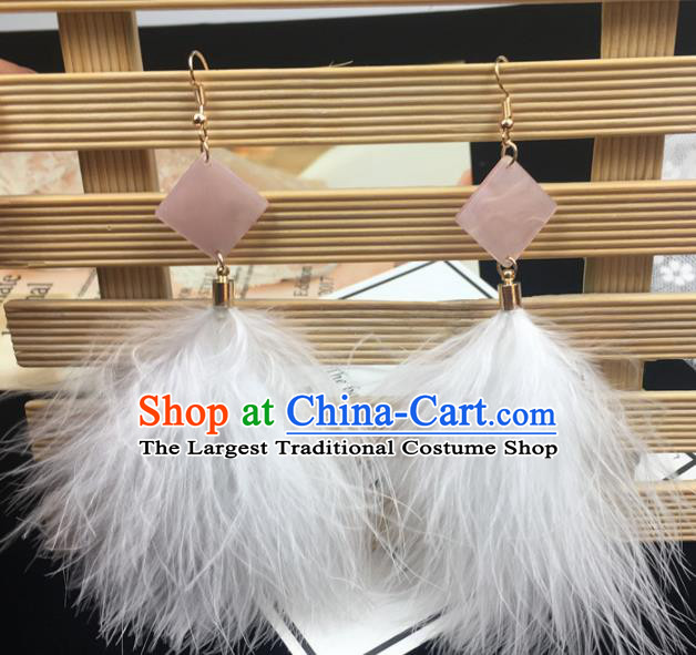 Traditional Chinese Bride Jewelry Accessories White Feather Earrings for Women
