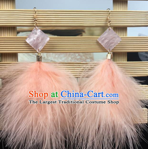 Traditional Chinese Bride Jewelry Accessories Orange Feather Earrings for Women
