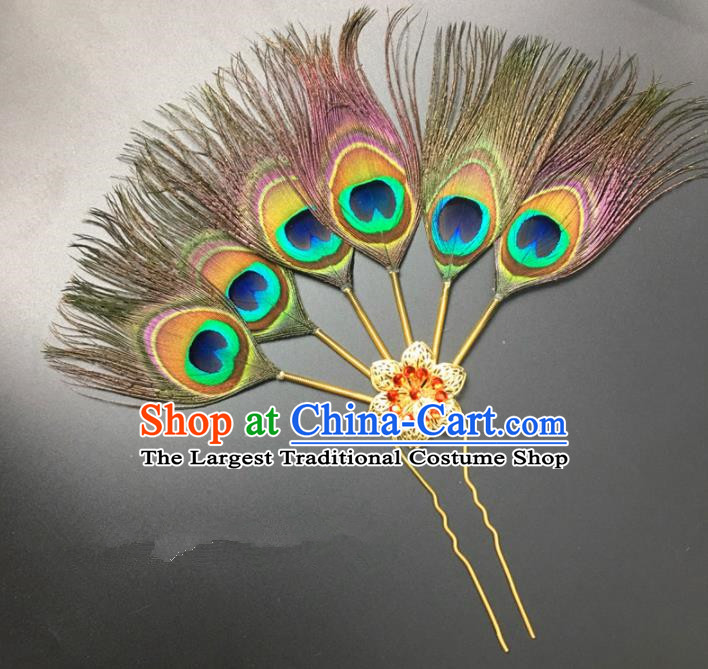 Traditional Chinese Bride Hair Accessories Peacock Feather Hairpins for Women