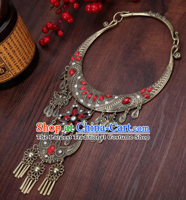 Chinese Traditional Jewelry Accessories Miao Minority Tassel Red Necklace for Women