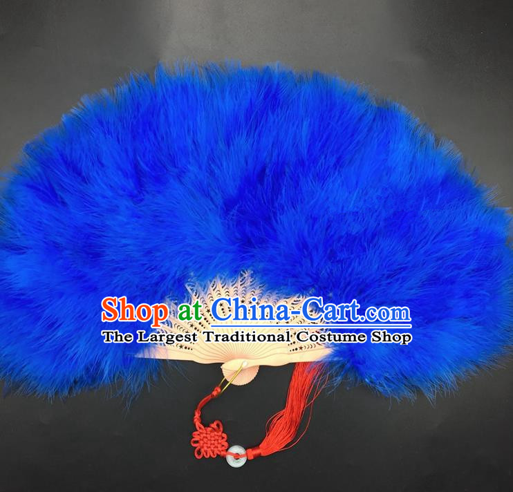 Traditional Chinese Crafts Royalblue Feather Folding Fan China Folk Dance Feather Fans
