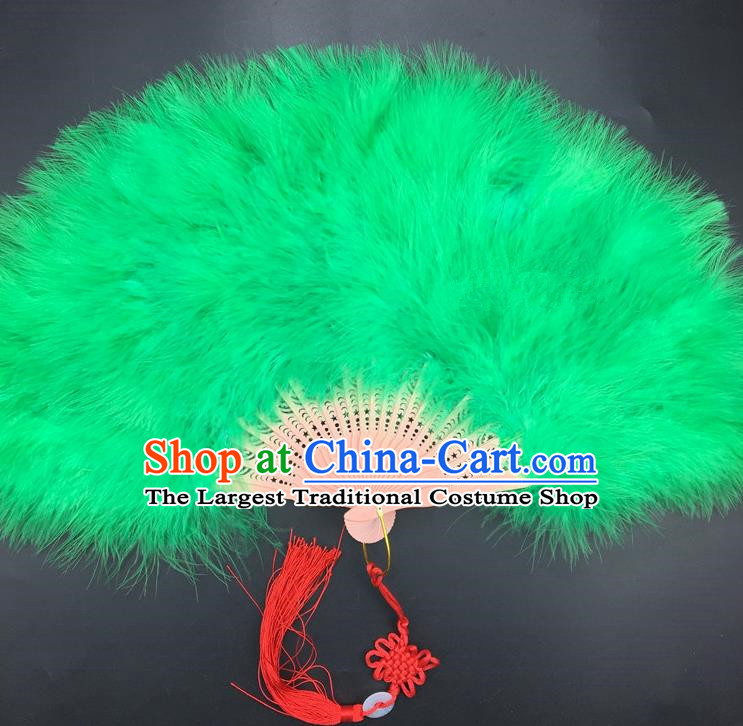 Traditional Chinese Crafts Green Feather Folding Fan China Folk Dance Feather Fans