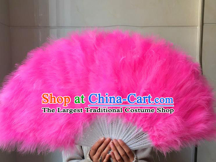 Traditional Chinese Crafts Folding Fan China Folk Dance Pink Feather Fans