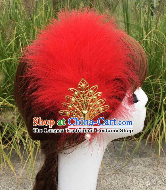 Traditional Chinese Bride Hair Accessories Folk Dance Red Feather Hair Stick for Kids