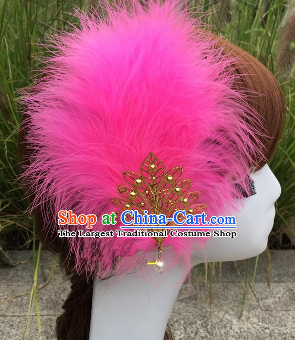 Traditional Chinese Bride Hair Accessories Folk Dance Rosy Feather Hair Stick for Kids