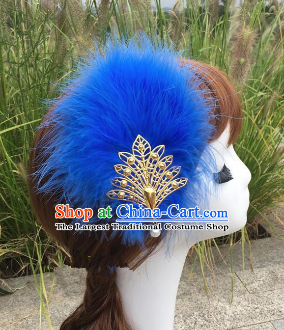 Traditional Chinese Bride Hair Accessories Folk Dance Royalblue Feather Hair Stick for Kids