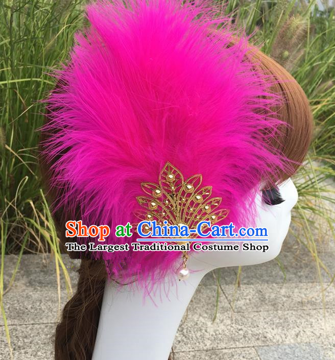Traditional Chinese Bride Hair Accessories Folk Dance Fushcia Feather Hair Stick for Kids
