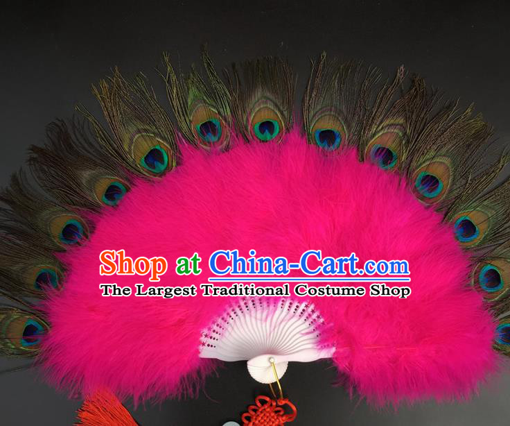 Traditional Chinese Crafts Peacock Feather Folding Fan China Folk Dance Rosy Feather Fans