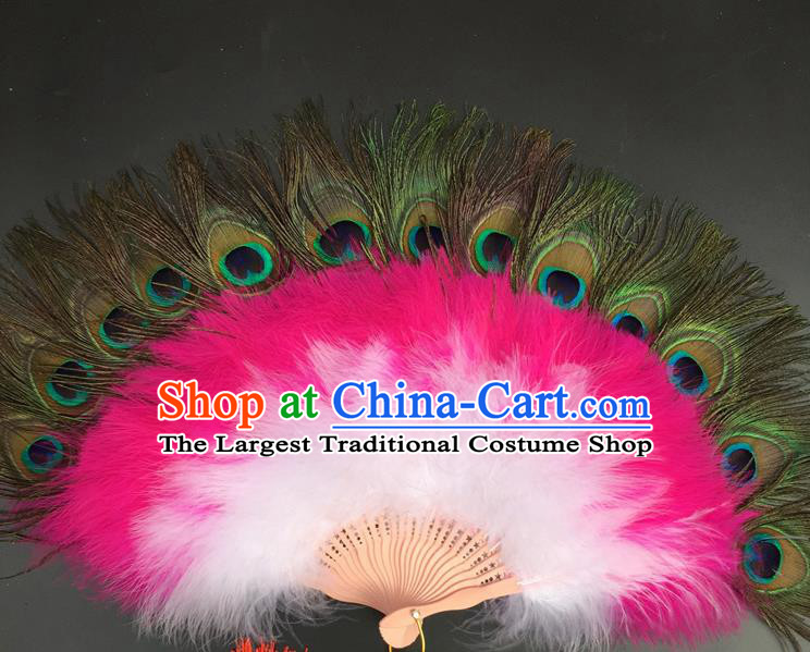 Traditional Chinese Crafts Peacock Feather Folding Fan China Folk Dance Feather Fans