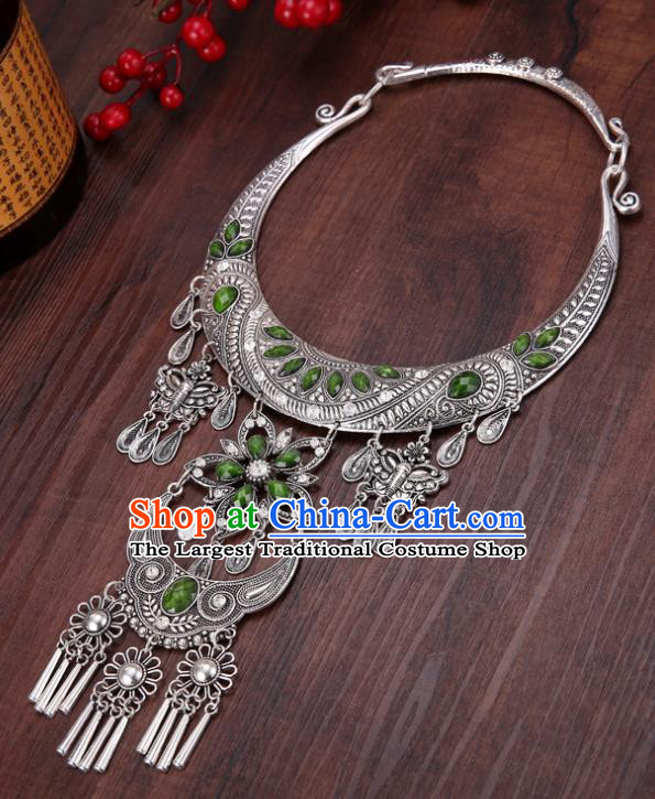 Chinese Traditional Jewelry Accessories Miao Minority Tassel Green Necklace for Women