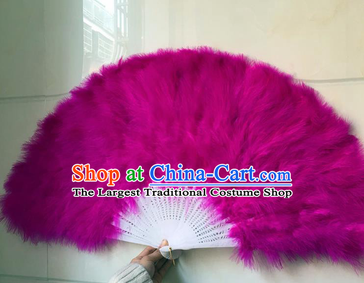 Traditional Chinese Crafts Folding Fan China Folk Dance Purple Feather Fans