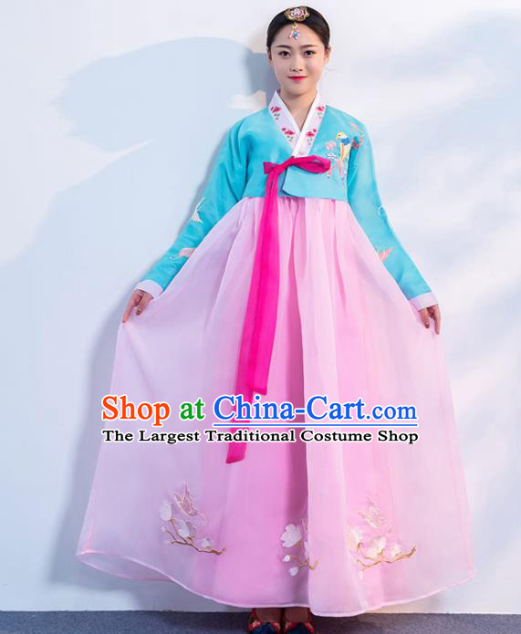 Top Grade Korean Traditional Costumes Asian Korean Hanbok Bride Blue Blouse and Pink Skirt for Women