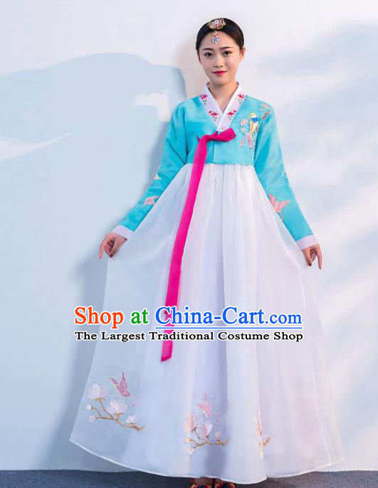 Top Grade Korean Traditional Costumes Asian Korean Hanbok Bride Blue Blouse and White Skirt for Women