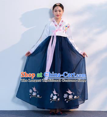 Top Grade Korean Traditional Costumes Asian Korean Hanbok Bride White Blouse and Navy Skirt for Women