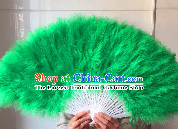 Traditional Chinese Crafts Folding Fan China Folk Dance Green Feather Fans