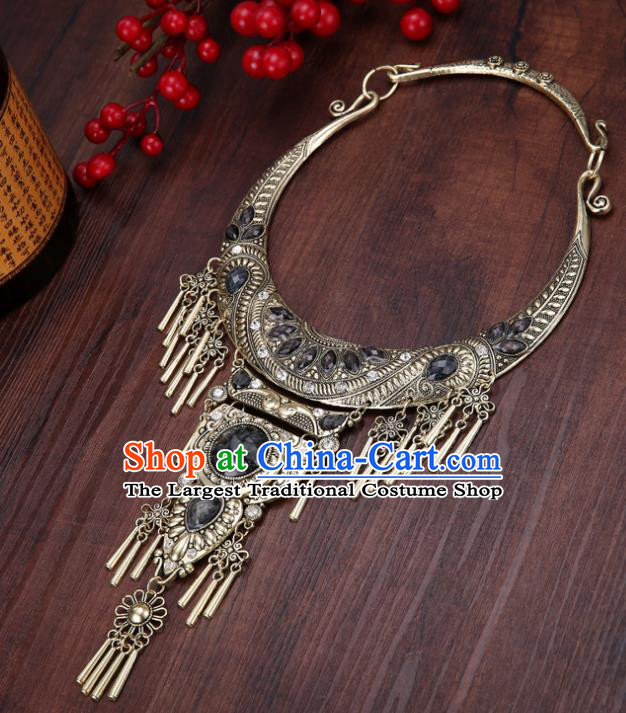Chinese Traditional Jewelry Accessories Miao Minority Tassel Black Necklace for Women