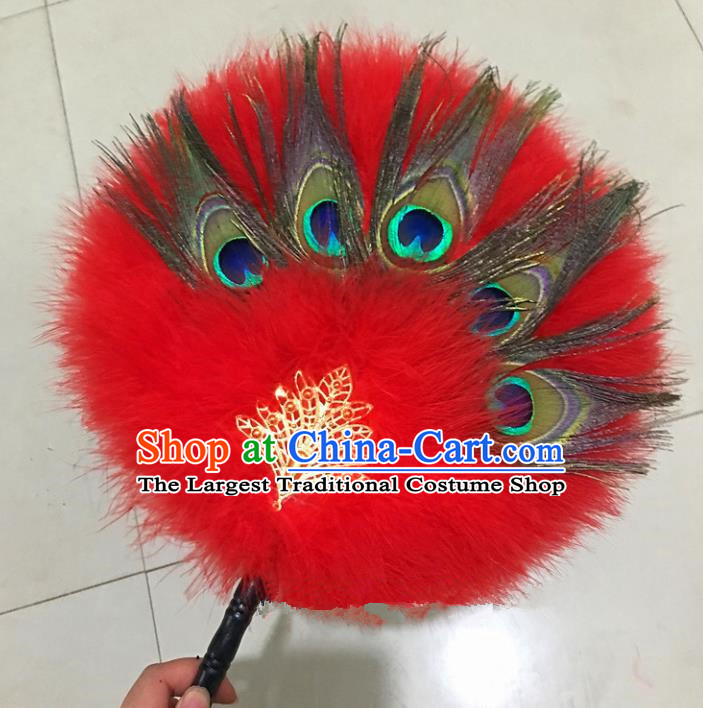Traditional Chinese Crafts Red Feather Palace Fan China Round Dance Feather Fans